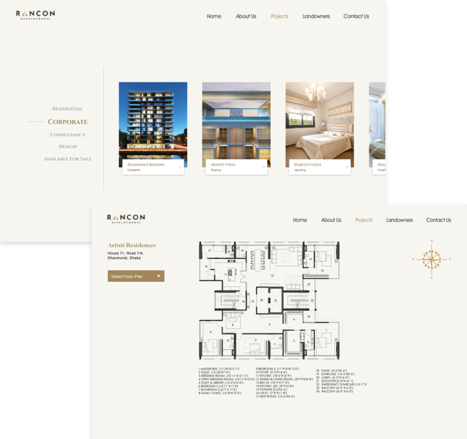 Project list page & Apartment floor plan page
